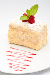 Mille-feuille with raspberry on top