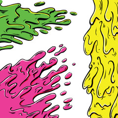 Vibrant paint splashes cartoon