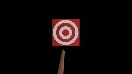 Arrow flying towards target, slow motion