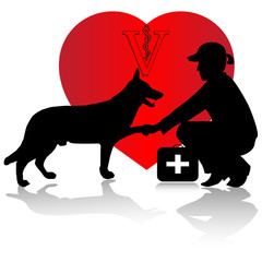 Veterinarian and dog.Vector