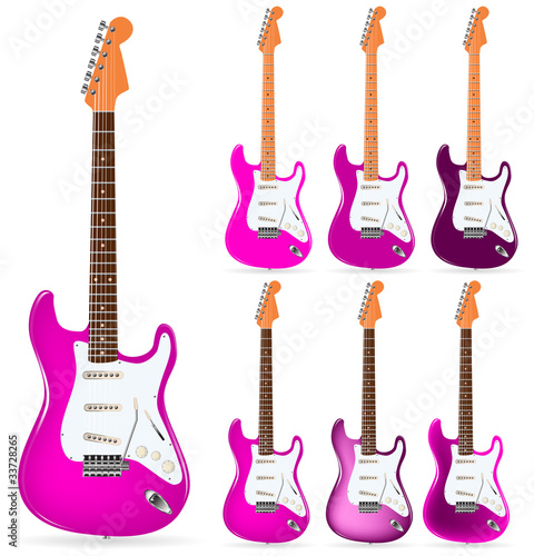set of pink electric guitars isolated on white background