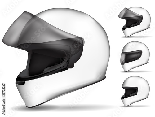 set of white motorcycle helmet isolated on white