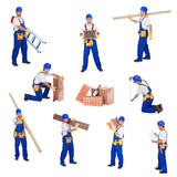 Handyman or worker involved in different activities poster