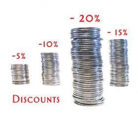 Columns of coins, discounts.