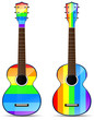set of rainbow classical acoustic guitar isolated on white