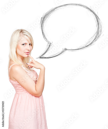 Mysterious blonde near blank speech bubble