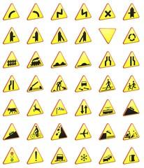 Znaki drogowe paczka 3d rendering  (znaki ostrzegawcze)