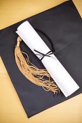 College Graduation Cap and Diploma