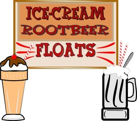 rootbeer floats  retro background