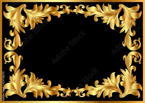 空间纹理老式老的背景花叶艺术装饰复制设计边界风格黄色黄金黑色see