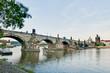 Charles Bridge crossing Vltava river.