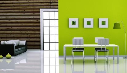 Wohndesign - grünes Esszimmer