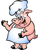 Hand-drawn Vector illustration of an Pig Chef wearing apron poster