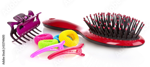 Hairbrush, barrette and Scrunchy isolated on white