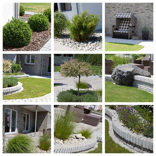 canvas print picture Moderne Gartenanlage mit Buchsbaum