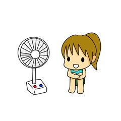 扇風機と少女
