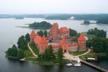 Birdseye view of the Trakai castle, Lithuania