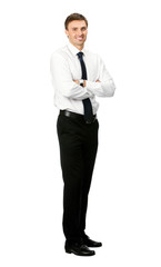 Full body portrait of happy smiling business man, isolated