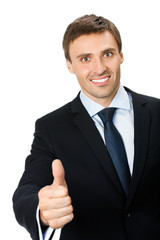 Business man with thumbs up gesture, isolated on white