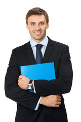 Portrait of smiling business man with blue folder, isolated