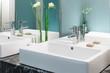 Leinwandbild Motiv Waschtisch im Badezimmer Doppelwaschtisch