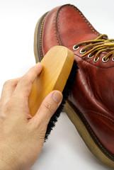 茶色のブーツの手入れ