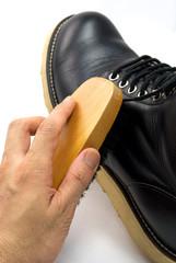 黒いブーツの掃除
