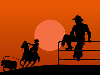 Illustration of two cowboys in the farm