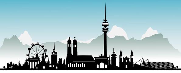 München mit Alpen