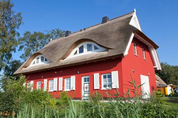 modernes reetgedecktes Zweifamilienhaus
