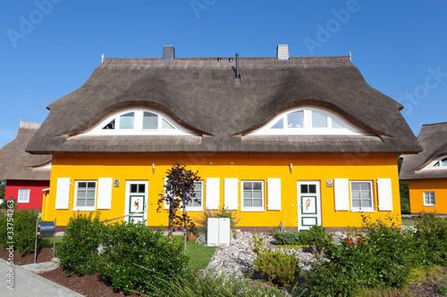 reetgedecktes Zweifamilienhaus mit Schnitzereien in den Türen