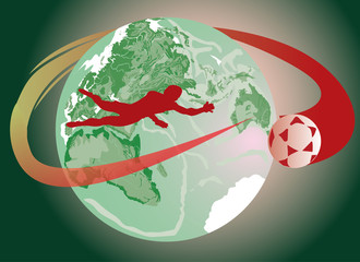 soccer player and terrestrial globe