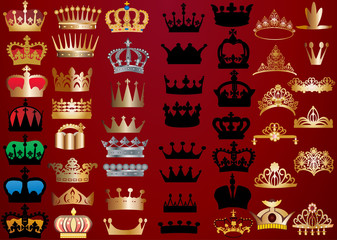 set of crowns on red