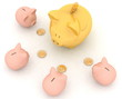 large gold and little piggy banks on a white background