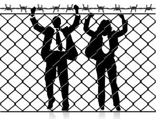 Zaun mit Personen