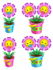 Set of cartoon flowers in a flowerpot