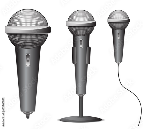 set of microphone isolated on white background