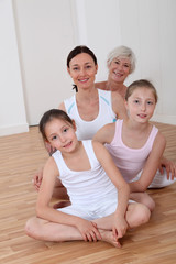 Portrait of family in fitness outfit