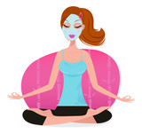 Fototapety Cute young Woman with Facial mask doing yoga pose - pink