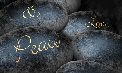Schwarze Steine mit Text - Peace and Love