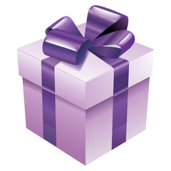 Vector gift box with violet silk ribbon and bow