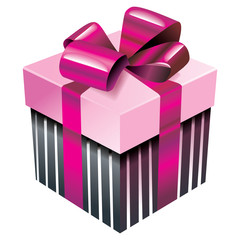 Vector gift box with pink silk ribbon and bow