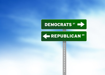 Democrats and Republican Road Sign