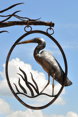 signboard of heron