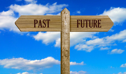 Wooden Signpost - Past & Future
