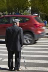 Old  man   waiting  crosswalk