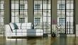 Wohndesign - weisses Sofa im Loft