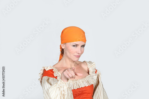 portrait of a woman in pirate costume
