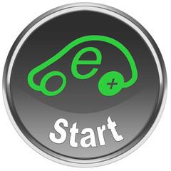 Button Start Engine Elektroauto mit weissem Hintergrund