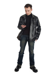 calling young man in black leather jacket